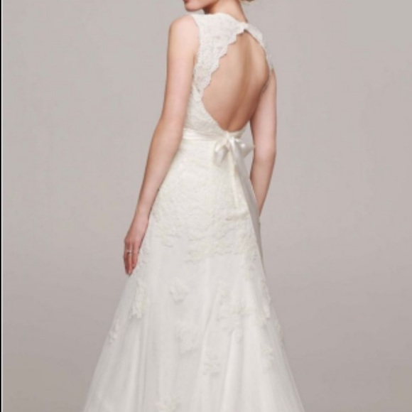 Davids Bridal Dresses Db Cap Sleeve Lace Wedding Dress With